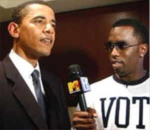 Diddy is seen with Barack Obama in a 2004 photo, posted the day he was re-elected, on Nov. 6, 2012.