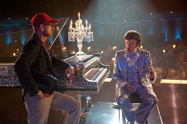 Steven Soderbergh appears with Michael Douglas, playing Liberace, on the set of the HBO film 'Behind the Candelabra.' The movie premiered on May 26, 2013 and depicts the pianist's life and relationship with lover Scott Thorson, played by Matt Damon.
