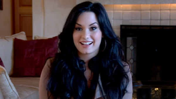 Demi Lovato appears in a video message...