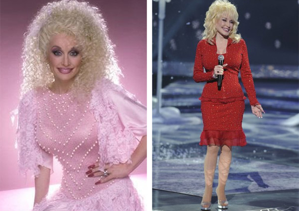 Pictured:  At left, Dolly Parton appears in a...