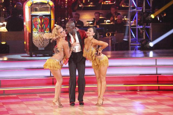 Football star Donald Driver and his partner Peta Murgatroyd appear on &#39;Dancing With The Stars: The Results Show&#39; on Tuesday, May 8, 2012. The pair received 27 out of 30 points from the judges for their Tango and 28 out of 30 for their Dance Trio on week eight of &#39;Dancing With The Stars,&#39; which aired on Monday, May 7, 2012. <span class=meta>(OTRC)</span>