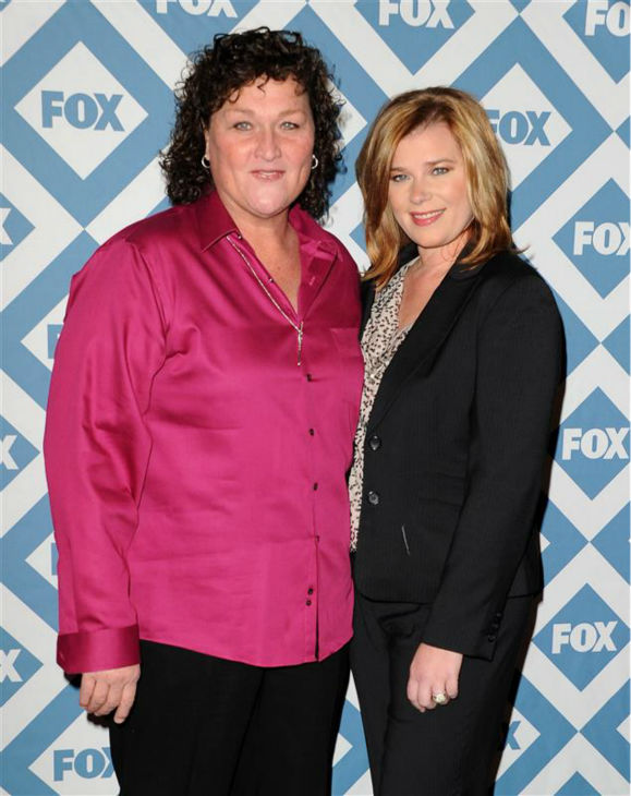 Dot-Marie Jones &#40;who plays Coach Beiste on the FOX series &#39;Glee&#39;&#41; and wife Bridgett Casteen appear at the FOX Winter 2014 event&#39;s all-star party at the Langham Hotel in Pasadena, California on Monday, Jan. 13, 2014. <span class=meta>(Daniel Robertson &#47; Startraksphoto.com)</span>