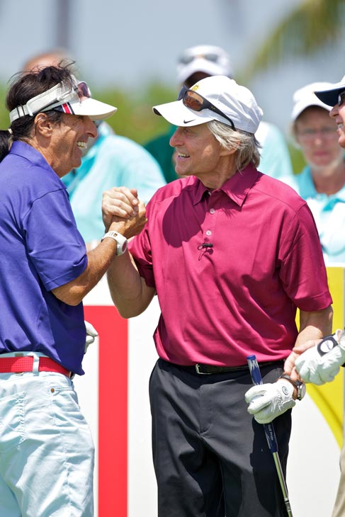 Michael Douglas greets a friend at the 2012 Michael Douglas and Friends Celebrity Golf Tournament, which took place between May 25 and May 27, 2012.  <span class=meta>(Motion Picture and Television Fund)</span>