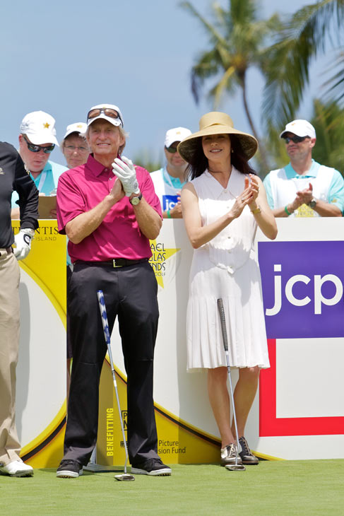 Michael Douglas and Catherine Zeta-Jones appear at the 2012 Michael Douglas &#38; Friends Celebrity Golf Tournament, which took place between May 25 and May 27, 2012. The event is set to air on the Golf Channel on July 7, 2012. <span class=meta>(Motion Picture and Television Fund)</span>