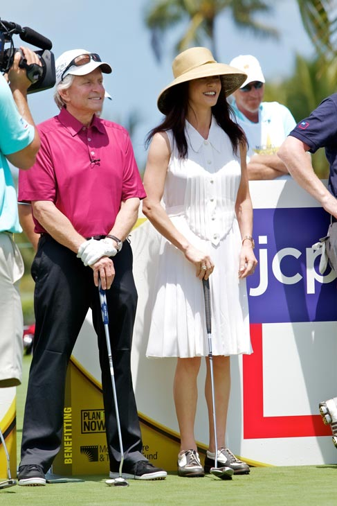 Michael Douglas and Catherine Zeta-Jones appear at the 2012 Michael Douglas and Friends Celebrity Golf Tournament, which took place between May 25 and May 27, 2012. <span class=meta>(Motion Picture and Television Fund)</span>