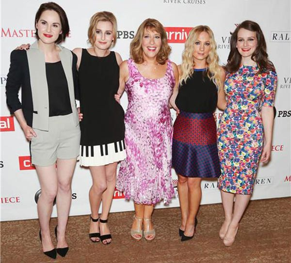 Downtown Abbey actresses Michelle Dockery, Laura Carmichael, Phyllis Logan, Joanne Froggatt and Sophie McShera attend the Downton Abbey photo call at The Beverly Hilton Hotel on Aug. 6, 2013 in Beverly Hills, California. - Provided courtesy of Chris Hatcher / startraksphoto.com