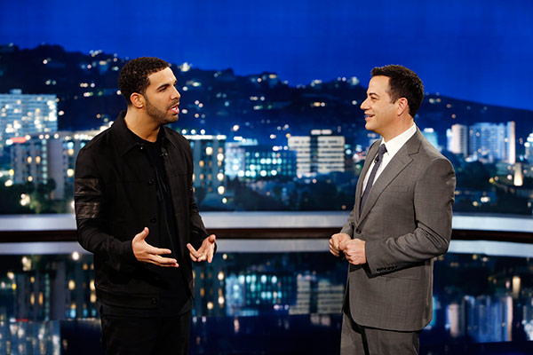 Rapper Drake appears with ABC host Jimmy Kimmel on an episode of &#39;Jimmy Kimmel Live!&#39; that aired on April 10, 2014. The rapper, who appeared on the series to promote his upcoming ESPYs 2014 hosting gig, interviewed people in disguise and asked them what they think about him and got insulted to his face. <span class=meta>(ABC Photo &#47; Randy Holmes)</span>