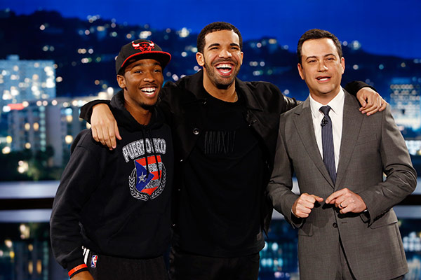 Rapper Drake appears with ABC host Jimmy Kimmel and a man he talked to on a street in Hollywood, California as part of an &#39;I Witness News&#39; segment taped for &#39;Jimmy Kimmel Live!,&#39; on April 10, 2014. The rapper, who appeared on the series to promote his upcoming ESPYs 2014 hosting gig, interviewed people in disguise and asked them what they think about him and got insulted to his face. This man, however, turned out to be a fan and got to appear on stage on the show. <span class=meta>(ABC Photo &#47; Randy Holmes)</span>