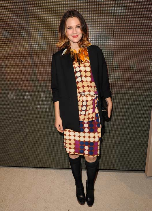 Drew Barrymore appears at the launch party for H and M&#39;s Marni collection in Los Angeles on Feb. 17, 2012. She is wearing an outfit from the fashion line. <span class=meta>(H and M &#47; Marni)</span>