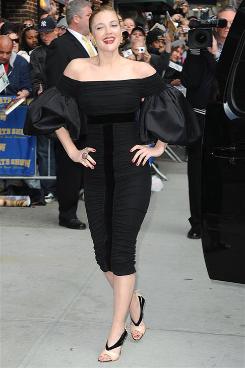 "<div class=""meta ""><span class=""caption-text "">We love Drew Barrymore because she can appreciate a good humongous pair of dress sleeves. (Pictured: Drew Barrymore arrives at a taping of 'The Late Show with David Letterman' in New York on April 15, 2009. She is wearing a black Giambattista Valli dress, Giuseppe Zanotti shoes and Lorraine Schwartz jewelry.) (Humberto Carreno / Startraksphoto.com)</span></div>"