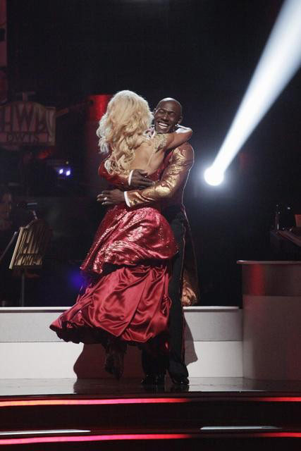 Football star Donald Driver and his partner Peta Murgatroyd react to being safe from elimination on 'Dancing With The Stars: The Results Show' on Tuesday, May 1, 2012.