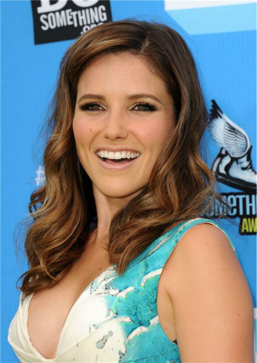 "<div class=""meta image-caption""><div class=""origin-logo origin-image ""><span></span></div><span class=""caption-text"">Host Sophia Bush attends the 2013 Do Something Awards in Hollywood, California on July 31, 2013. She is wearing a teal and white, scale-print Monique Lhuillier Spring 2013 gown with a ruched front. (Sara De Boer / startraksphoto.com)</span></div>"