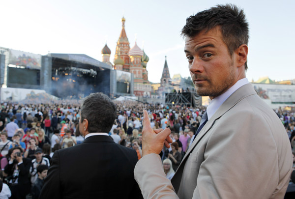 Josh Duhamel attends a 'Transformers 3: Dark of the Moon' event, which included a Linkin Park concert, in Moscow, Russia on June 23, 2011.