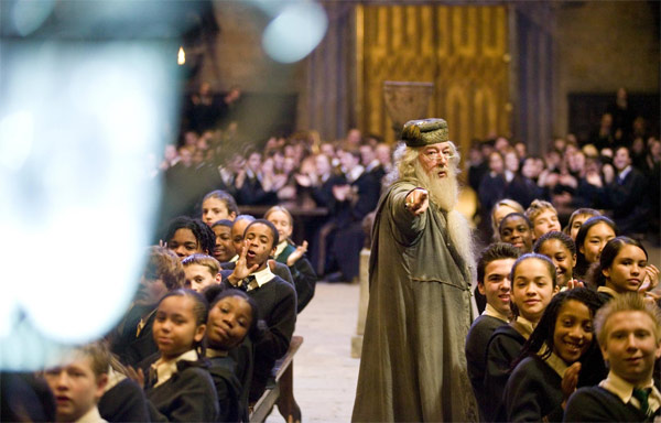 Professor Albus Dumbledore &#40;Michael Gambon&#41; and the Hogwarts students appear in a scene from the 2005 film &#39;Harry Potter and the Goblet of Fire.&#39; <span class=meta>(Warner Bros. Pictures)</span>
