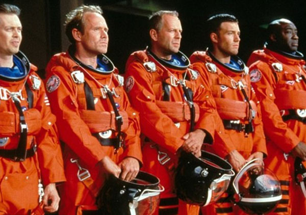 L to R: Steve Buscemi, Will Patton, Bruce Willis, Benn Affleck and Michael Clarke Duncan appear in a scene from the 1998 movie 'Armageddon.'