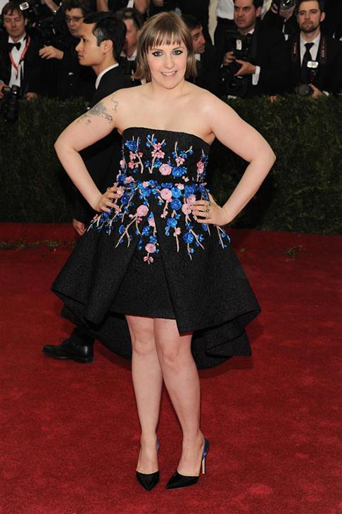 Lena Dunham, creator of HBO&#39;s &#39;Girls,&#39; appears at the Metropolitan Museum of Art&#39;s 2014 Costume Institute Benefit gala, celebrating &#39;Charles James: Beyond Fashion,&#39; in New York on May 5, 2014. She is wearing a floral Giambattista Valli Spring 2014 Couture dress. <span class=meta>(Marion Curtis &#47; Startraksphoto.com)</span>