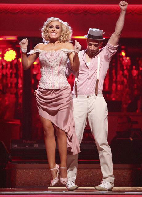 Classical singer Katherine Jenkins and her partner Mark Ballas react to being safe from elimination on 'Dancing With The Stars: The Results Show' on Tuesday, April 17, 2012.