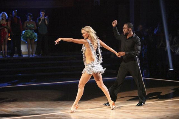 "<div class=""meta ""><span class=""caption-text "">Jaleel White, who played Steve Urkel on 'Family Matters,' and his partner Kym Johnson prepare to perform the Cha-Cha on the 'Dance Duel' on 'Dancing With The Stars: The Results Show' on Tuesday, April 17, 2012. (ABC Photo)</span></div>"