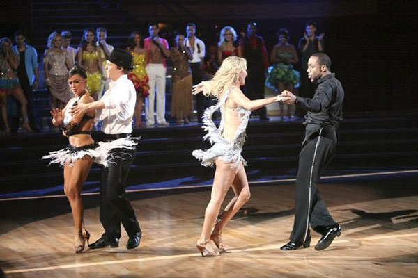 Jaleel White, who played Steve Urkel on &#39;Family Matters,&#39; and his partner Kym Johnson prepare to perform the Cha-Cha on the &#39;Dance Duel&#39; on &#39;Dancing With The Stars: The Results Show&#39; on Tuesday, April 17, 2012. <span class=meta>(ABC Photo)</span>
