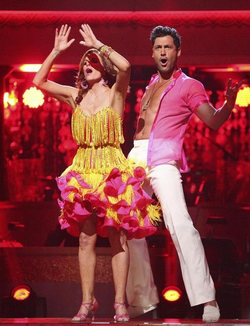 Melissa Gilbert, a former child star who played Laura on &#39;Little House on the Prairie,&#39; and her partner Maksim Chmerkovskiy await possible elimination on &#39;Dancing With The Stars: The Results Show&#39; on Tuesday, April 17, 2012. The pair received 21 out of 30 points from the judges for their Salsa on week five of &#39;Dancing With The Stars,&#39; which aired on April 16, 2012. <span class=meta>(ABC Photo)</span>