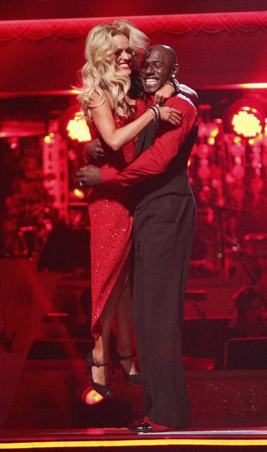 Football star Donald Driver and his partner Peta Murgatroyd await possible elimination on 'Dancing With The Stars: The Results Show' on Tuesday, April 17, 2012.