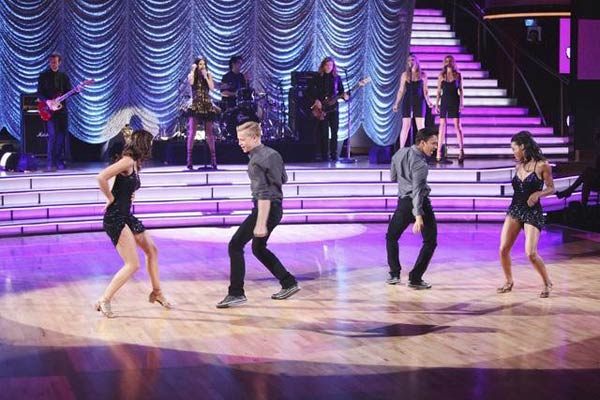 Selena Gomez and her band, The Scene, also hit the dancing with the stars stage to perform their hit single 'Hit the Lights' on 'Dancing With The Stars: The Results Show' on Tuesday, April 17, 2012.