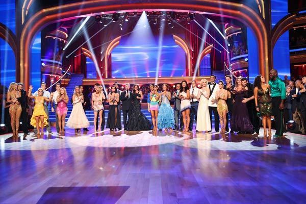 The cast appears in a still from the season premiere of 'Dancing 