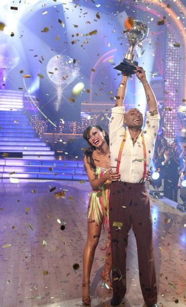 'All My Children' actor and Iraq War veteran J.R. Martinez and his partner Karina Smirnoff react to winning season 13 of 'Dancing With The Stars' on Tuesday, Nov. 22, 2011.