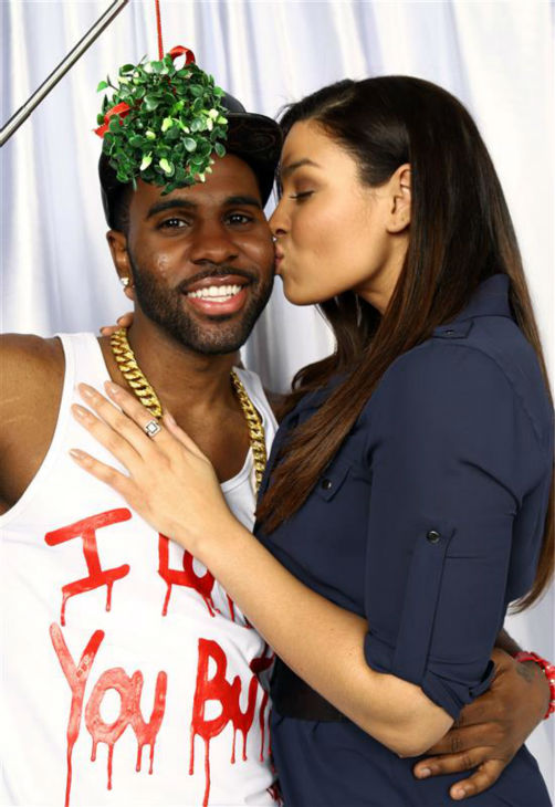 "<div class=""meta image-caption""><div class=""origin-logo origin-image ""><span></span></div><span class=""caption-text"">Jordin Sparks and boyfriend Jason DeRulo pose in a holiday-themed photo booth at Z100's Jingle Ball 2013 on Dec. 13, 2013, just before Christmas. (Sara Jaye Weiss  / Startraksphoto.com)</span></div>"