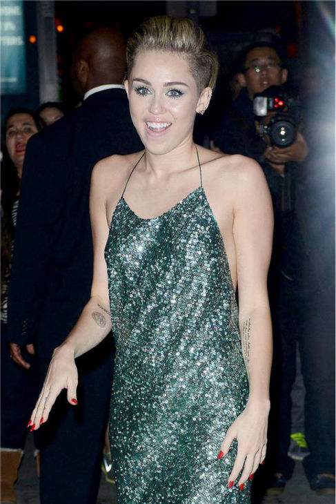 "<div class=""meta ""><span class=""caption-text "">Miley Cyrus arrives at the 30th annual Night of Stars gala in New York on Oct. 22, 2013. (Humberto Carreno / Startraksphoto.com)</span></div>"