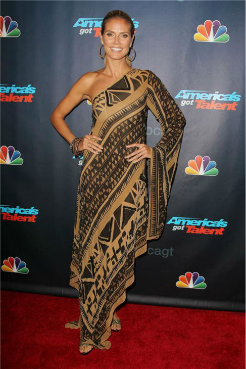 "<div class=""meta ""><span class=""caption-text "">'America's Got Talent' co-judge Heidi Klum poses on the red carpet after the finale at Radio City Music Hall in New York on Sept. 18, 2013. (Photo/Amanda Schwab)</span></div>"