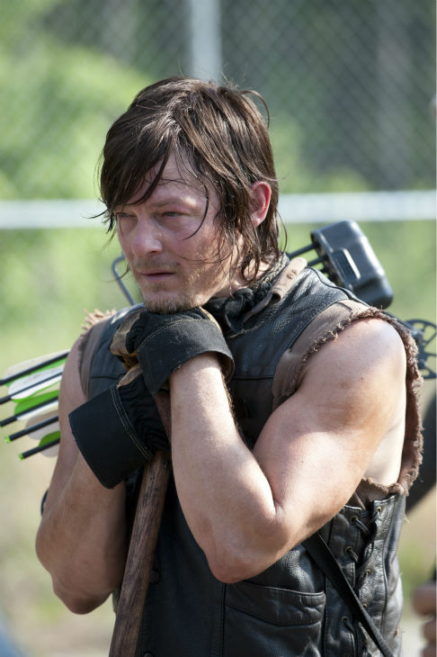 "<div class=""meta image-caption""><div class=""origin-logo origin-image ""><span></span></div><span class=""caption-text"">Norman Reedus (Daryl Dixon) appears on the set of AMC's 'The Walking Dead' while filming episode 2 of season 4, titled 'Infected,' which aired on Oct. 20, 2013.  (Gene Page / AMC)</span></div>"
