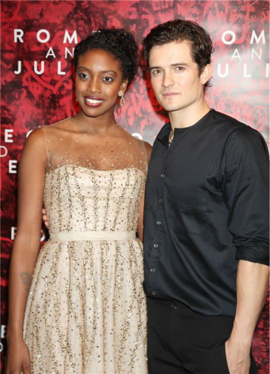 Orlando Bloom poses with co-star Condola Rashad at the opening night party for the play &#39;Romeo and Juliet,&#39; which marks the actor&#39;s Broadway debut, in New York on Sept. 19, 2013. <span class=meta>(Adam Nemser &#47; Startraksphoto.com)</span>