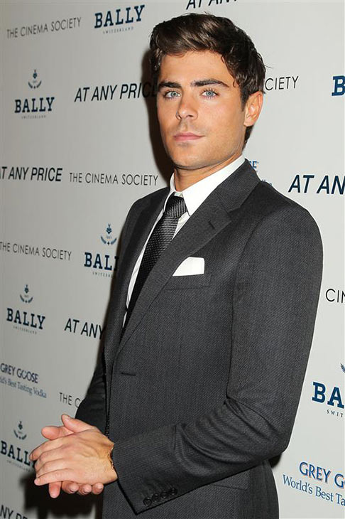 Zac Efron appears at a screening of 'At Any Price,' hosted by the Cinema Society and Bally, at the Landmark Sunshine Cinema in New York on April 18, 2013.