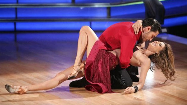 "<div class=""meta image-caption""><div class=""origin-logo origin-image ""><span></span></div><span class=""caption-text"">Elisabetta Canalis returned to the ballroom for a final performance on 'Dancing With The Stars: The Results Show,' on Tuesday, November 22, 2011. She appears here with show partner Val Chermokskiy. (ABC / Adam Taylor)</span></div>"