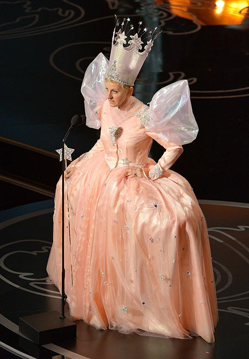 Ellen appears as Glinda - Oscars 2014 host Ellen DeGeneres continued the &#39;Wizard of Oz&#39; tribute by wearing a Glinda the Good Witch costume on stage. <span class=meta>(John Shearer &#47; Invision &#47; AP)</span>