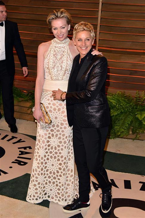 Oscars 2014 host Ellen DeGeneres and wife and actress Portia de Rossi appear at the 2014 Vanity Fair Oscar party in Los Angeles, California on March 2, 2014. <span class=meta>(Tony DiMaio &#47; Startraksphoto.com)</span>