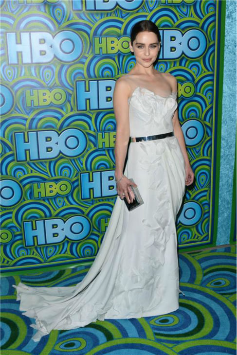 "<div class=""meta ""><span class=""caption-text "">Emmy nominee and 'Game of Thrones' star Emilia Clarke appears at an Emmy Awards 2013 post-show reception, hosted by HBO, in Los Angeles on Sept. 22, 2013. (Tony DiMaio / Startraksphoto.com)</span></div>"
