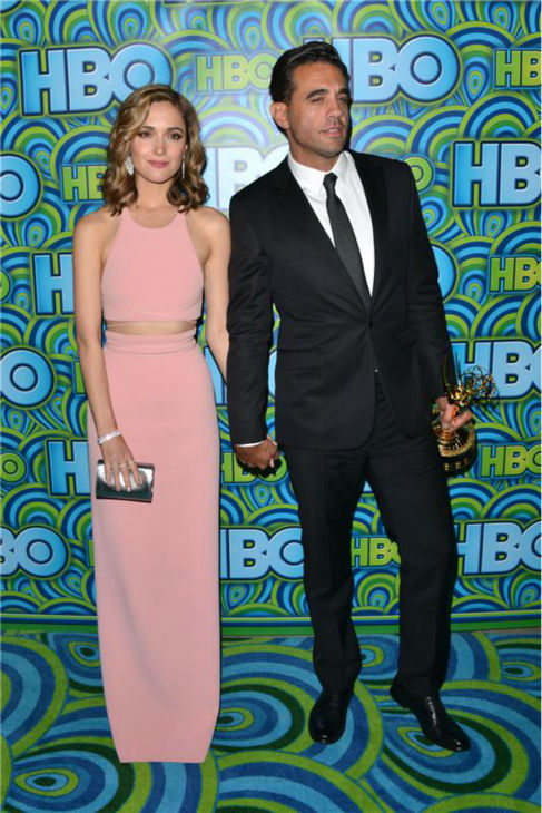 Rose Byrne and Emmy winner and 'Boardwalk Empire' actor Bobby Cannavale appear at an Emmy Awards 2013 pos