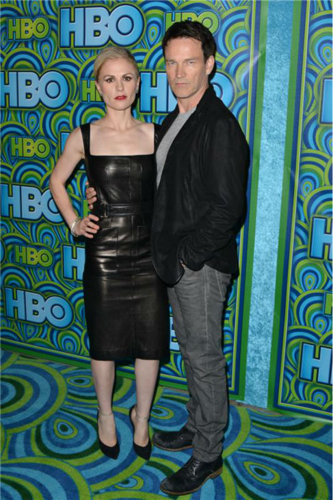 &#39;True Blood&#39; stars and real-life married couple Anna Paquin and Stephen Moyer appear at an Emmy Awards 2013 post-show reception, hosted by HBO, in Los Angeles on Sept. 22, 2013. <span class=meta>(Tony DiMaio &#47; Startraksphoto.com)</span>