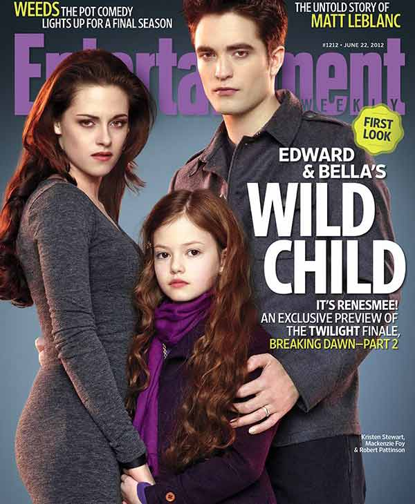 Kristen Stewart, Mackenzie Foy and Robert Pattinson appear on the June 22, 2012 cover of Entertainment Weekly magazine. - Provided courtesy of Entertainment Weekly