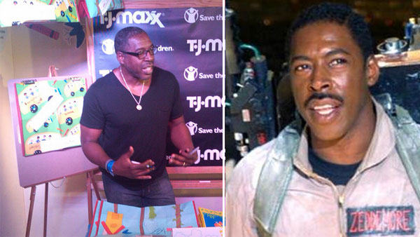 Ernie Hudson appears as Winston Zeddmore in the 1984 film 'Ghostbusters.' / Ernie Hudson signs tote bags at the 'TJ Maxx Helps' booth in Hollywood, CA to raise awareness for Save the Children in August 2010.