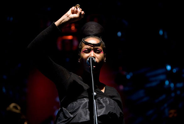 Erykah badu appears at the Gent Jazz Festival on July 17, 2008.