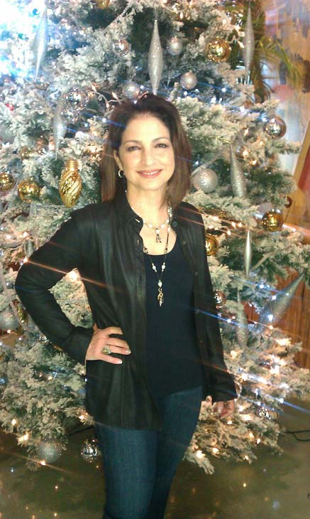 Gloria Estefan is already in the Christmas spirit. She Tweeted this photo of herself in front of a Christmas tree on Thanksgiving - Nov. 22, 2012, saying: &#39;Happy Thanksgiving tweeties!! @bongoscubancafe for our annual #feedafriend event!! My favorite event of the year!!&#39; <span class=meta>(twitter.com&#47;GloriaEstefan&#47;status&#47;271678235673231360&#47;photo&#47;1)</span>