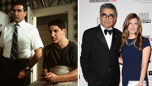 Eugene Levy appears with Jason Biggs in a scene from 'American Pie' in 1999 / Eugene Levy appears with his daughter Sarah Levy at the American Cinematheque 26th annual Award Presentation in Beverly Hills, California on Nov. 15, 2012.