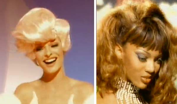 Linda Evangelista and Tyra Banks appear in scenes from the 1992 music video 'Too Funky.'