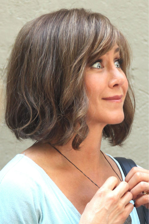 Jennifer Aniston wears a wig on the New York City set of the 2014 movie &#39;Squirrels To The Nuts&#39; on July 17, 2013. <span class=meta>(Freddie Baez &#47; startraksphoto.com)</span>