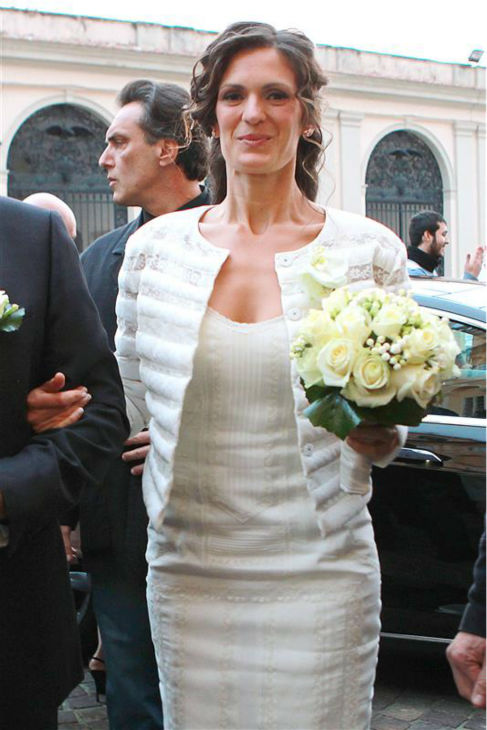 Andrea Bocelli&#39;s bride, longtime partner Veronica Berti, appears at their wedding at the Sanctuary of Montenero in Italy on March 21, 2014. This marks the second marriage for the famed Italian tenor. He and Berti are parents to a daughter, who celebrated her second birthday on their wedding day, and he also has two sons from a previous marriage. <span class=meta>(Masjordan Image &#47; Abaca &#47; Startraksphoto.com)</span>