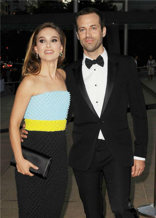 Natalie Portman and husband Benjamin Millepied attend the New York City Ballet 2013 Fall Gala at the David H. Koch Theater at Lincoln Center in New York on Sept. 19, 2013.
