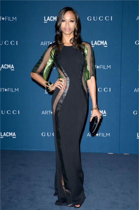 Zoe Saldana appears at the LACMA Art and Film Gala, honoring Martin Scorsese And David Hockney, at the Los Angeles County Museum of Art on Nov. 2, 2013.